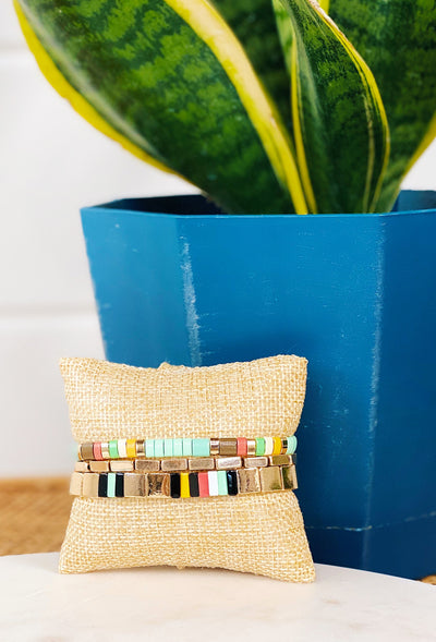 Roxie Enamel Bracelet Set Mint, gold and color beaded stretchy bracelet set
