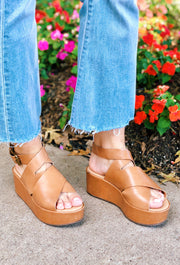 Runaway Platform Sandals in Tan, leather platform shoes with ankle buckle