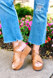 Runaway Platform Sandals in Tan