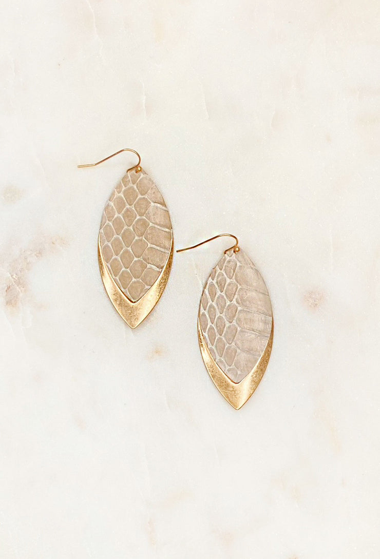 Ruthie Leather Leaf Earrings, leather snake textured earrings with gold dipped metal detailing