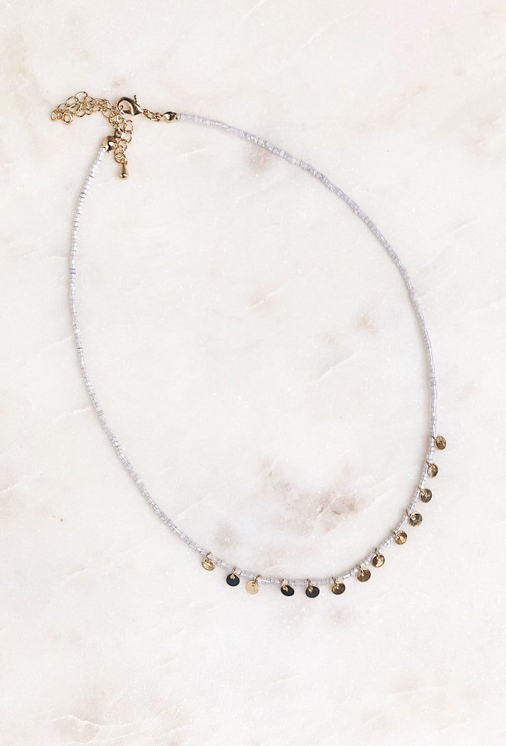 Samara Beaded Coin Choker in Gray, silver beaded necklace with mini gold coin pendants