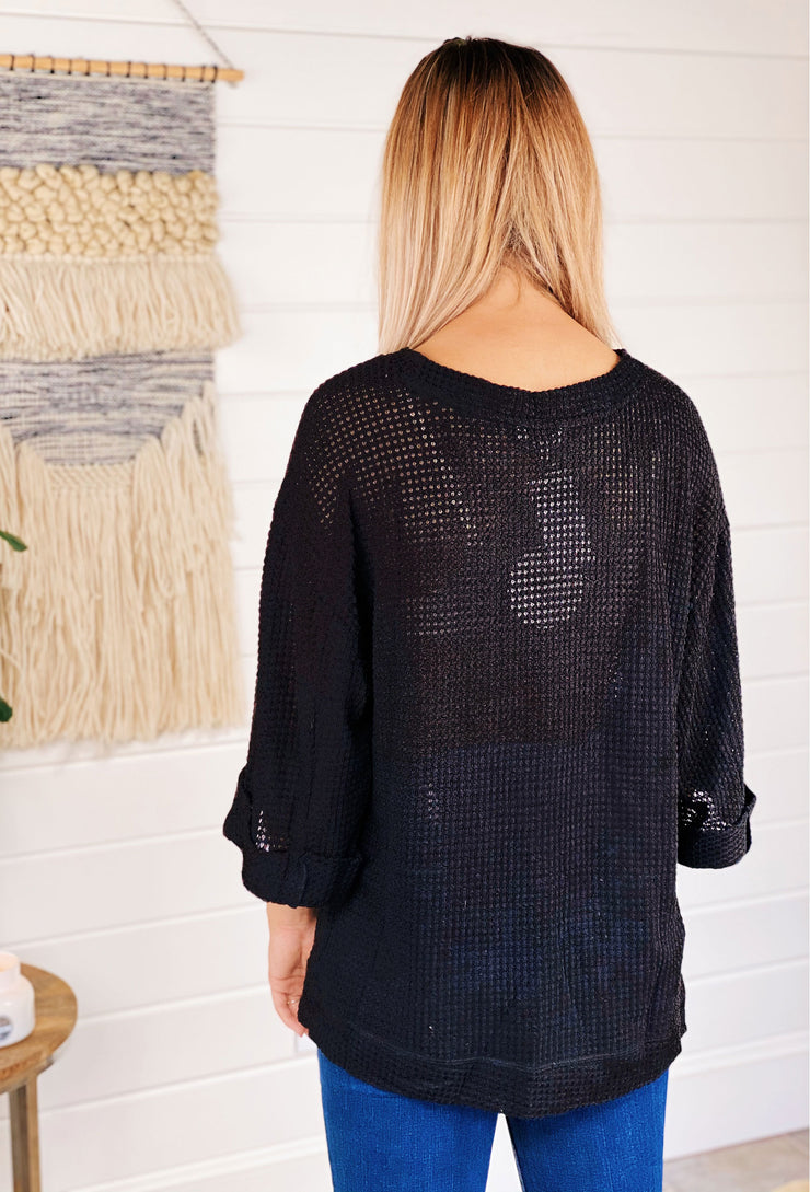 Sammi Waffle Knit Top in Black, black 3/4 sleeve waffle knit top with side slit