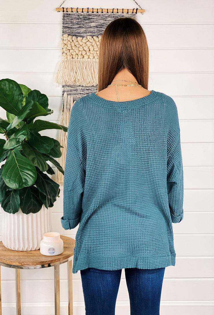 Sammi Waffle Knit Top in Teal, teal 3/4 sleeve waffle knit top with side slit
