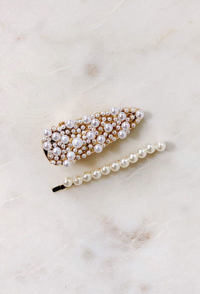 Sandy Pearl Hair Clip Set, pearl encrusted hair clips in a set of two