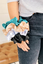 Satin Super Scrunchie, pastel silk satin super scrunchies on elastic band  Edit alt text