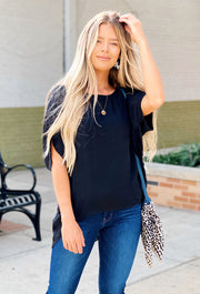 Savannah Dolman Top in Black, black oversized short sleeve blouse with dolman sleeves