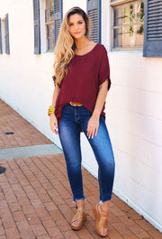 Savannah Dolman Top in Maroon, burgundy oversized top by umgee, built in tank