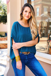 Savannah Dolman Top in Seaweed, oversized Umgee top in teal