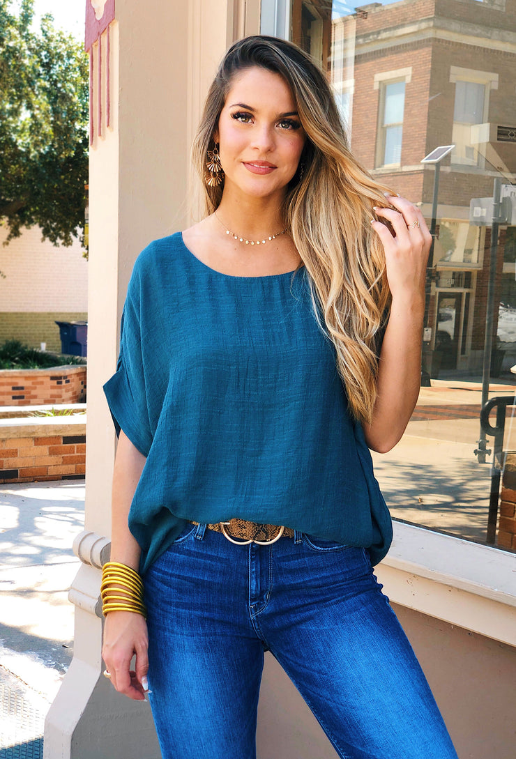 Savannah Dolman Top in Teal, oversized Umgee top in teal