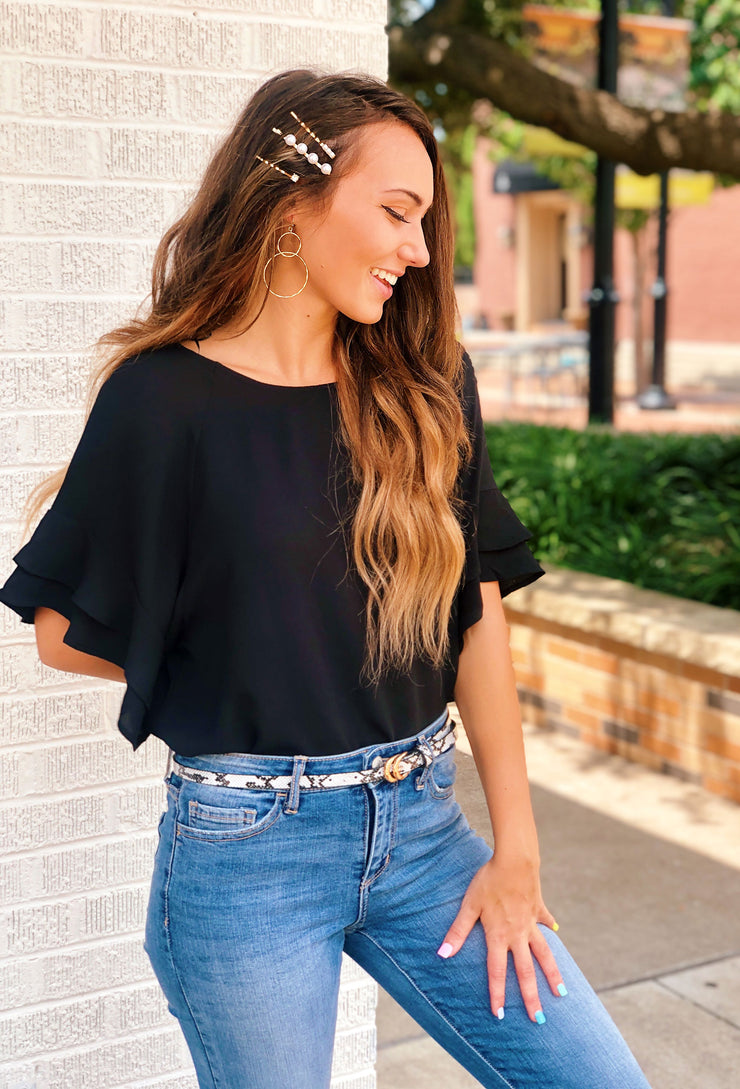 Shayleigh Shift Top in Black, black Umgee top with ruffle sleeves