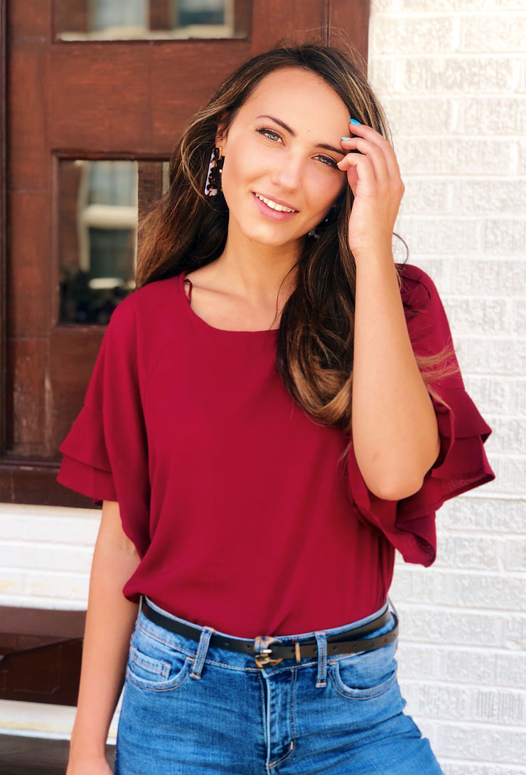 Shayleigh Shift Top in Burgundy Red