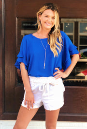 Shayleigh Shift Top in Cobalt Blue