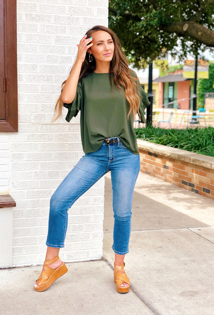 Shayleigh Shift Top in Olive Green, olive green top with ruffle sleeves