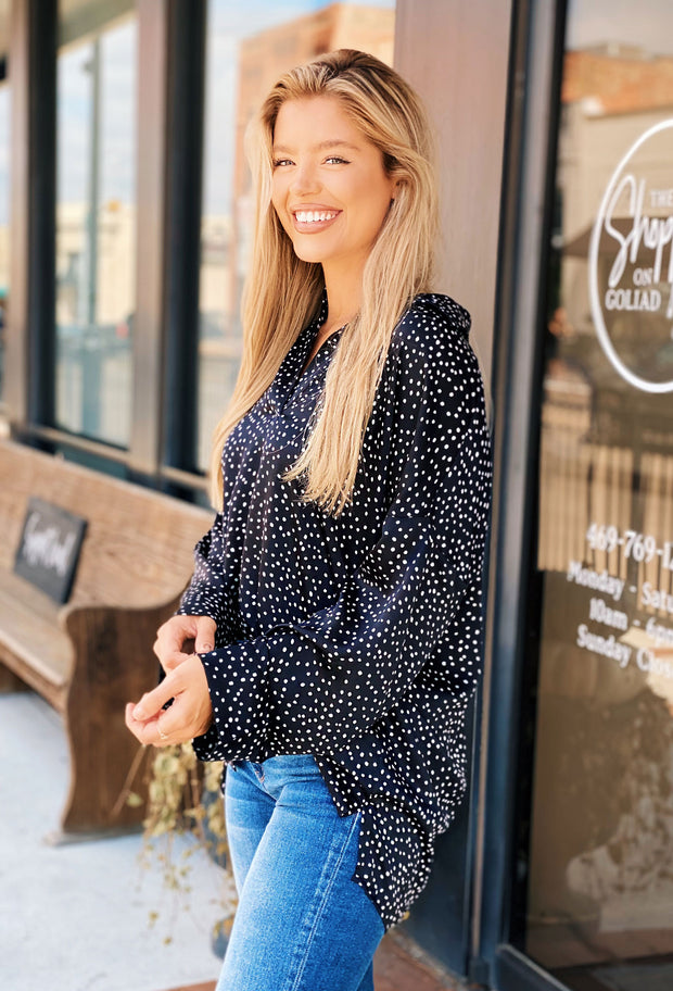 Shira Spotted Tunic Blouse, black button up blouse with collar with white spots long sleeve