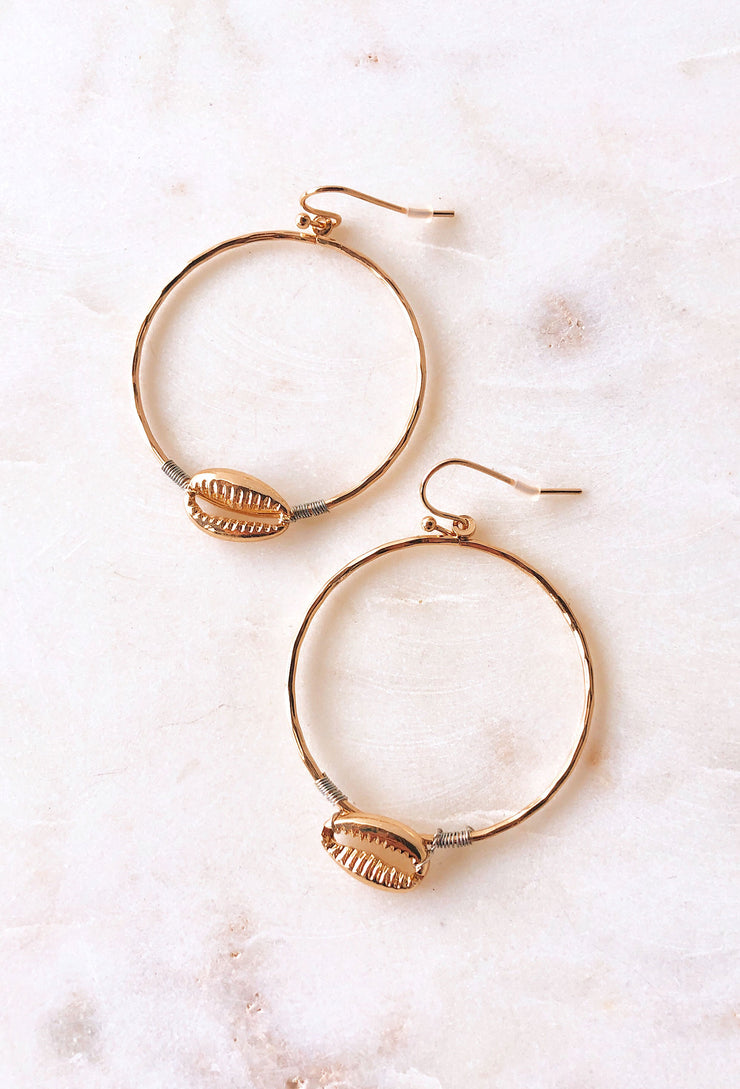 Sirena Gold Puka Shell Hoop Earrings