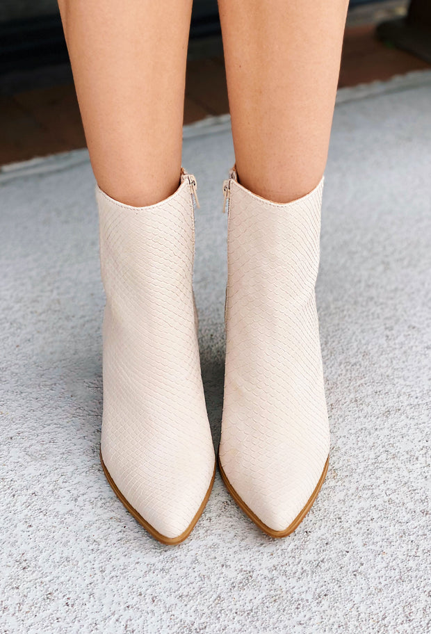 Miracle Mile Sloan Bootie in Off White, off white heeled bootie with faux snake texture