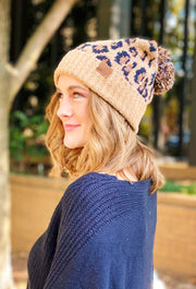 Slouchy C.C. Beanie in Leopard Print, chenille like knit beanie in leopard print with slouchy look and pom on top