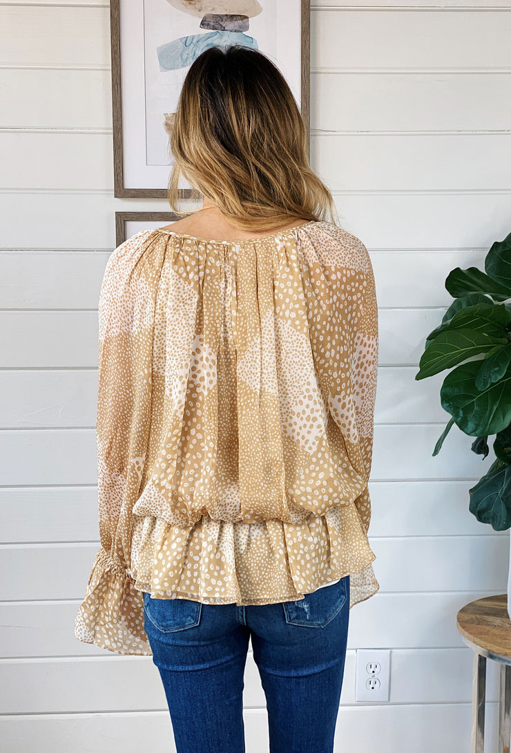 Spotted Constance Blouse, light tan and white chiffon ruffle spotted blouse