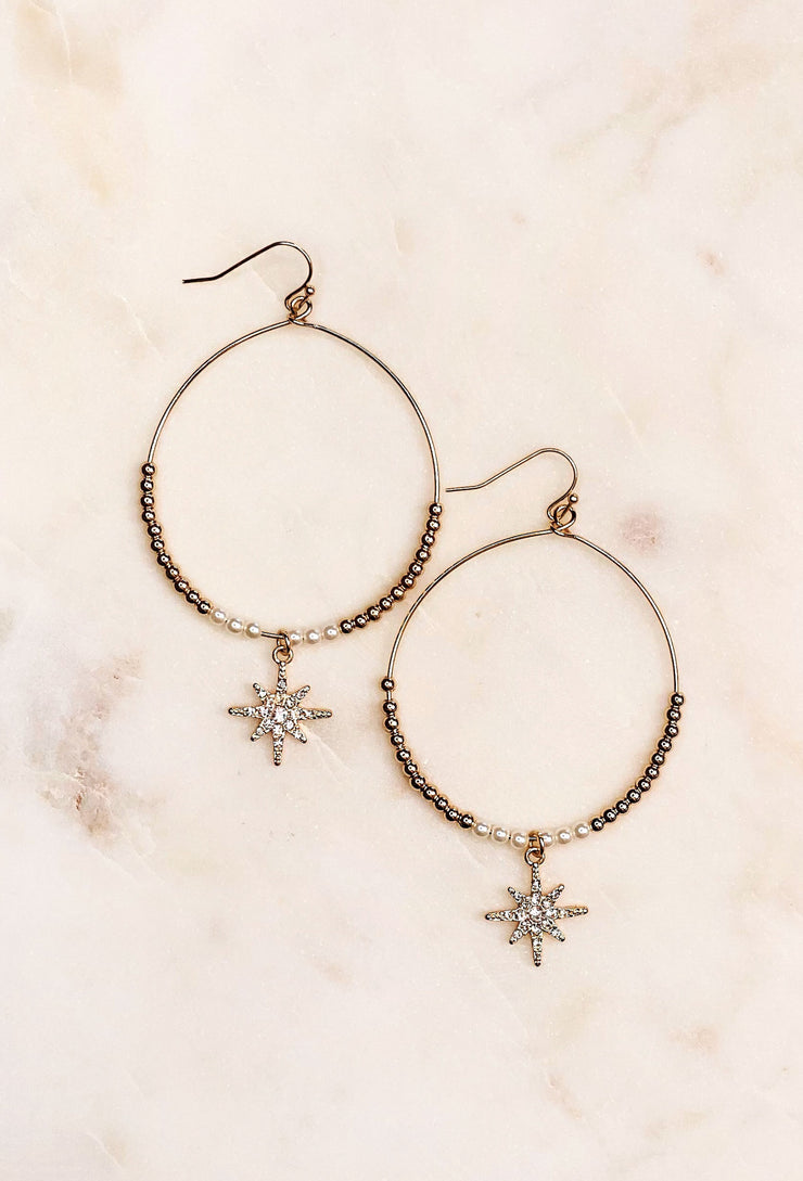 Starburst & Beaded Earrings, circle hoops with beaded gold balls and star pendant
