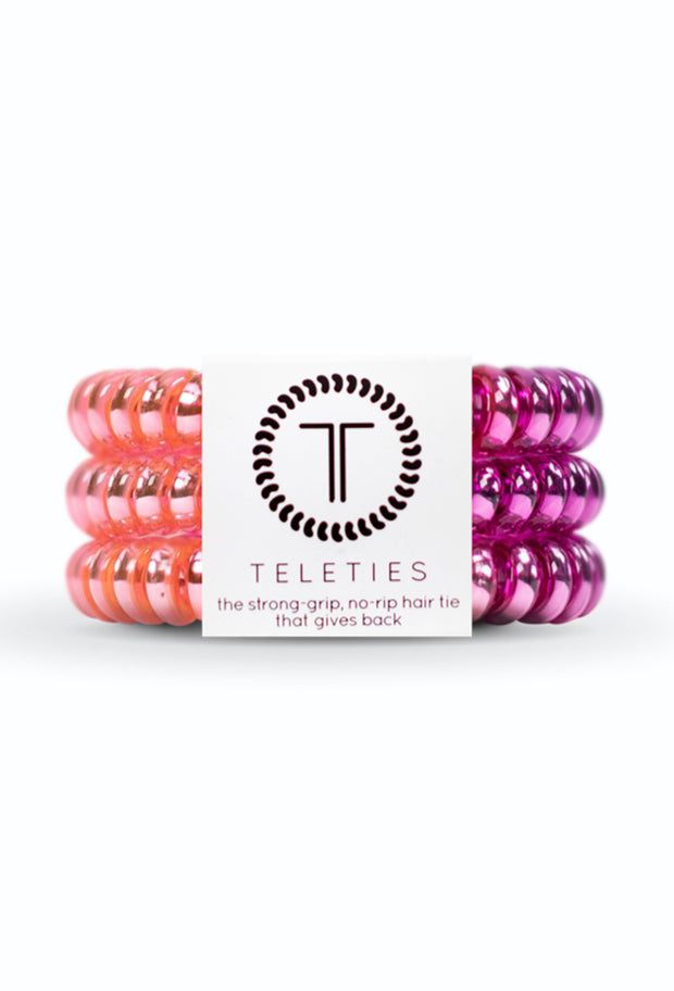 TELETIES Small Hair Ties - Stardust, metallic purple and pink hair coils