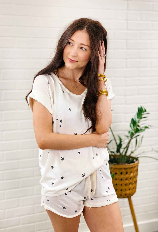 Stars Above Lounge Top, white soft cotton tee with navy stars