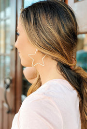 Stellar Star Hoop Earrings in Gold