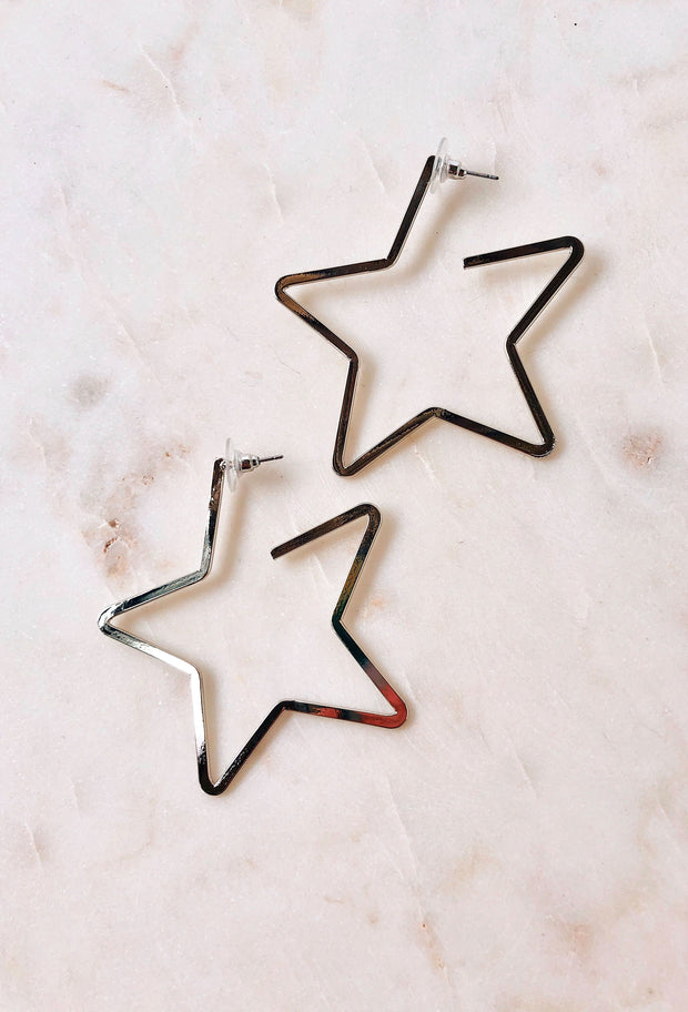 Stellar Star Hoop Earrings in Silver