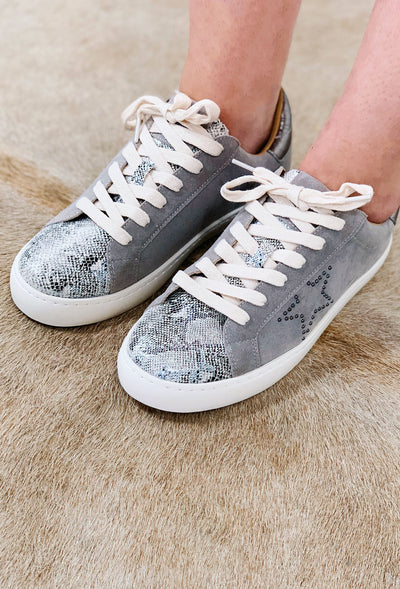 Miracle Mile Sterling Sneaker, gray suede sneaker with leather snake print and stud gun metal star