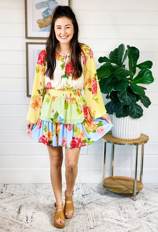 Subtle Romance Floral Dress, bright colored rose floral smocked waist dress