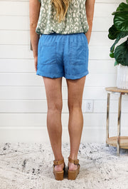 Summer Shorts in Chambray, slouchy drawstring chambray shorts