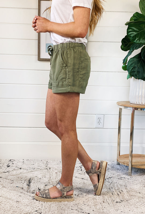Summer Shorts in Olive, olive slouchy drawstring was it shorts