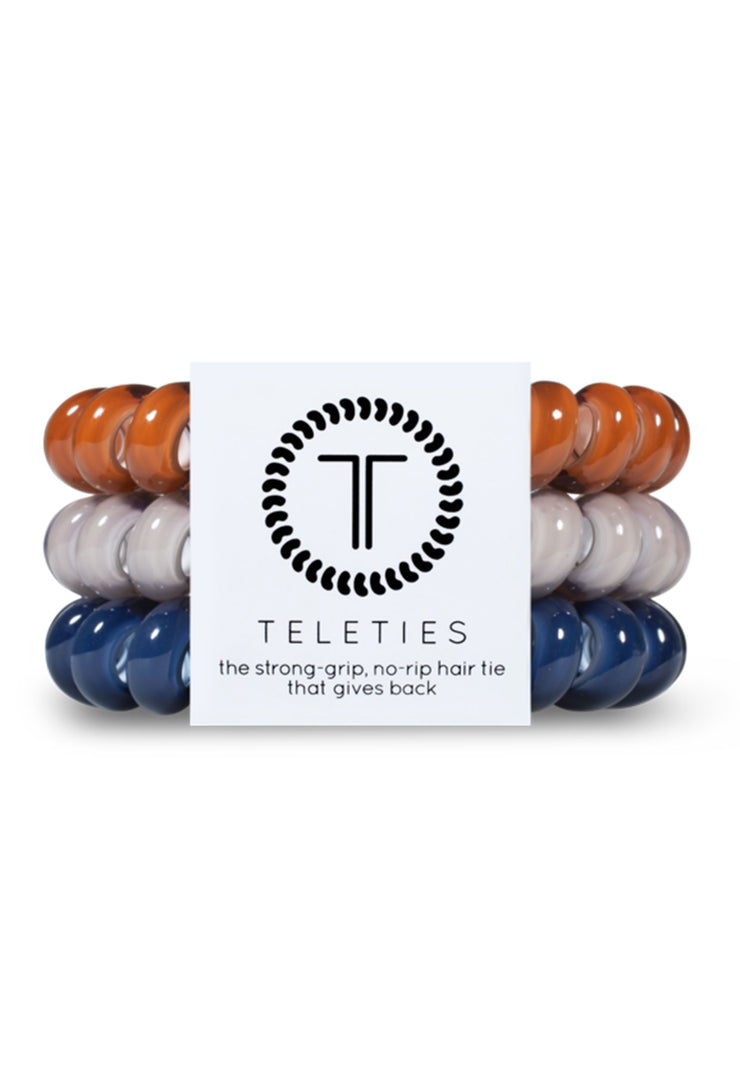 TELETIES Large Hair Ties - Sweater Weather, 3 different cool hued coil hair ties