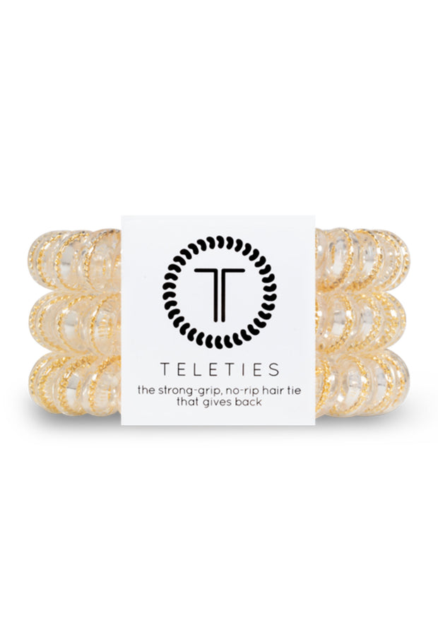 TELETIES Large Hair Ties - Counting Karats, clear hair coils hair ties with small gold chain inside set of 3