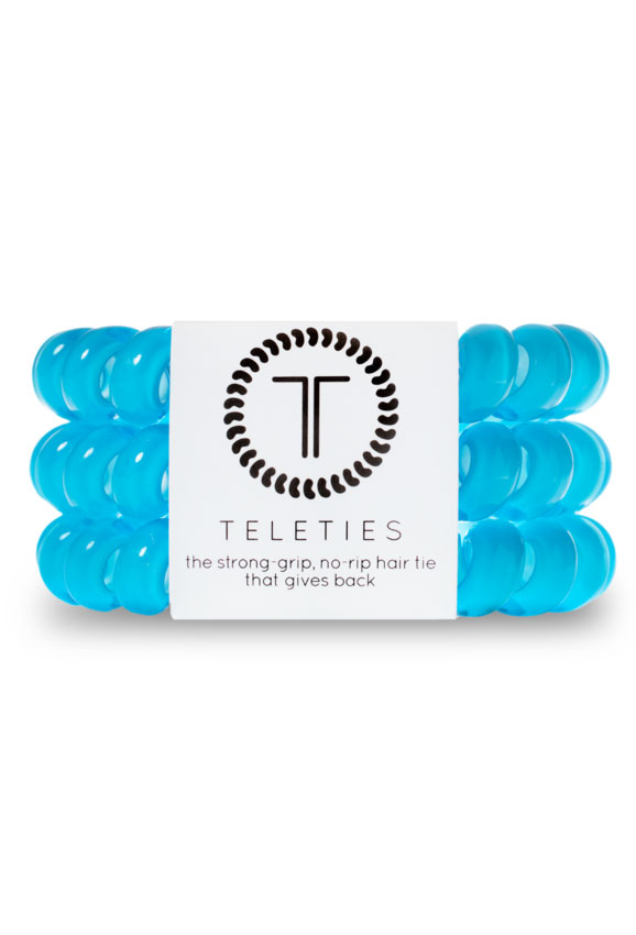 TELETIES Large Hair Ties- Cool Blue, Blue Hair Coil Hair Tie
