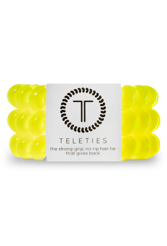 TELETIES Large Hair Ties- Flashbulb, Yellow Hair Coil Hair Tie