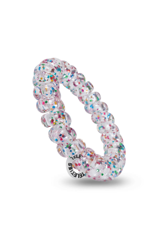 TELETIES Large Hair Ties - Party People, clear coil hair ties with rainbow confetti glitter inside