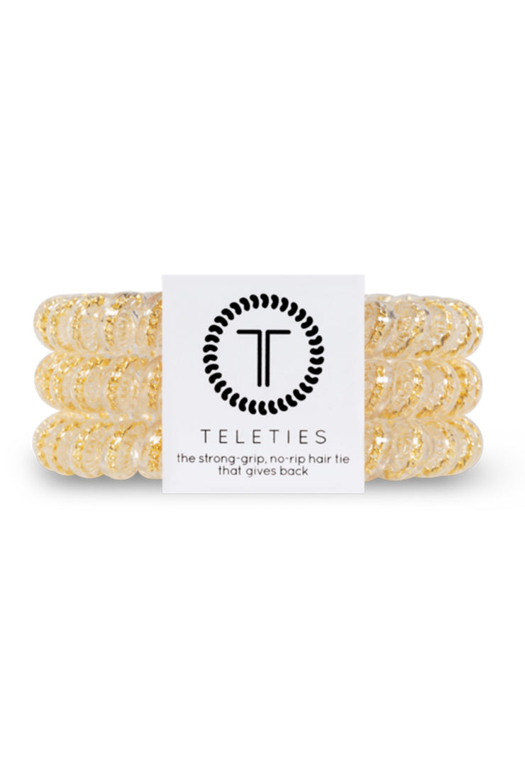 TELETIES Small Hair Ties - Counting Karats, clear coil hair ties with small gold chain detailing inside 3 piece set