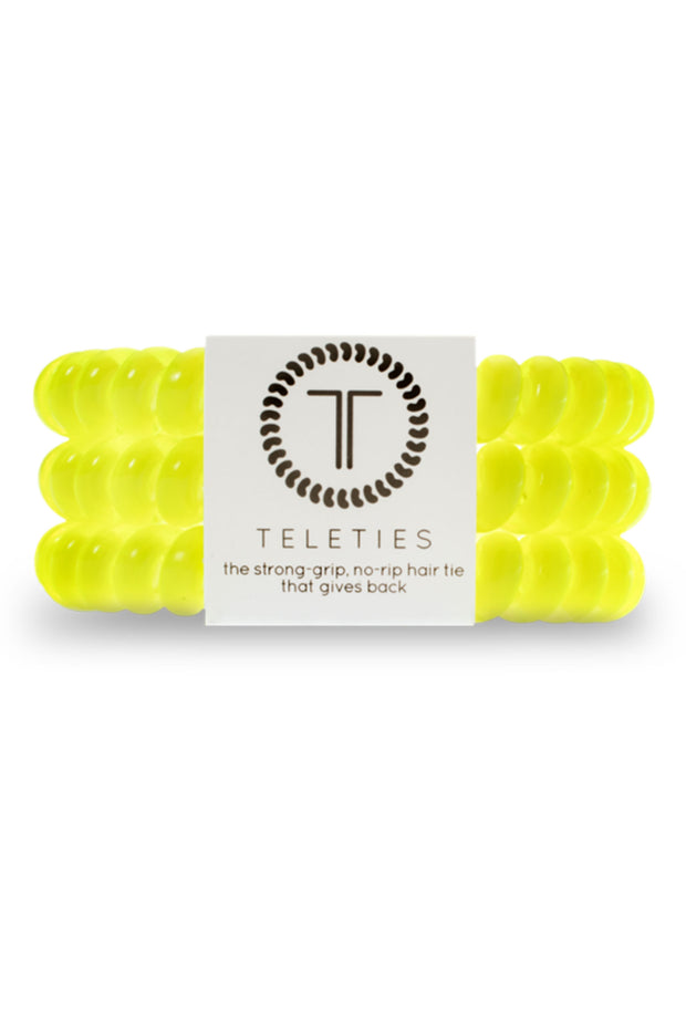 TELETIES Small Hair Ties - Flashbulb, bright yellow 3 piece coil hair ties