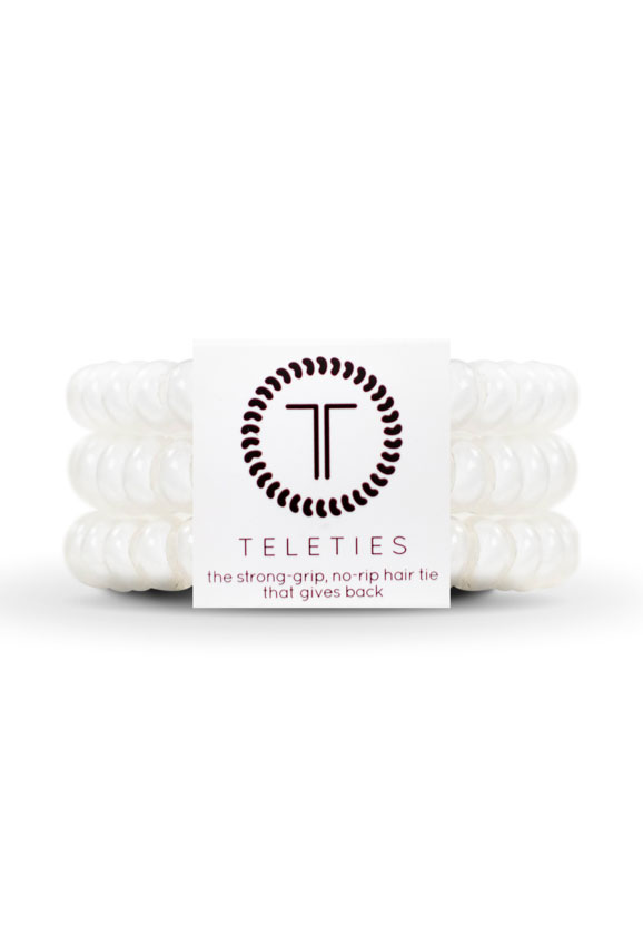 TELETIES Small Hair Ties- Coconut White, white hair coil hair ties