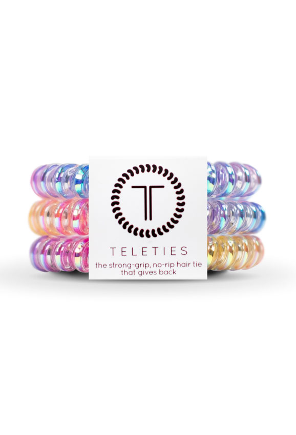 TELETIES Small Hair Ties- Eat Glitter for Breakfast, multicolored hair coil hair tie
