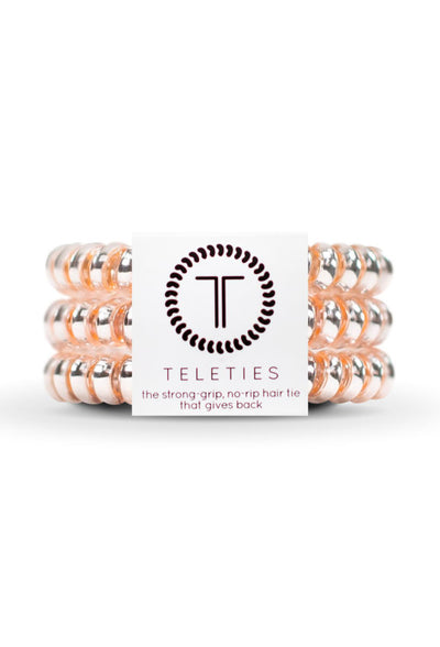 TELETIES Small Hair Ties- Millenial Pink, pink metallic hair coil hair ties