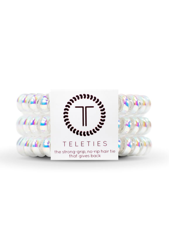 TELETIES Small Hair Ties- Peppermint, metallic hair coil hair ties