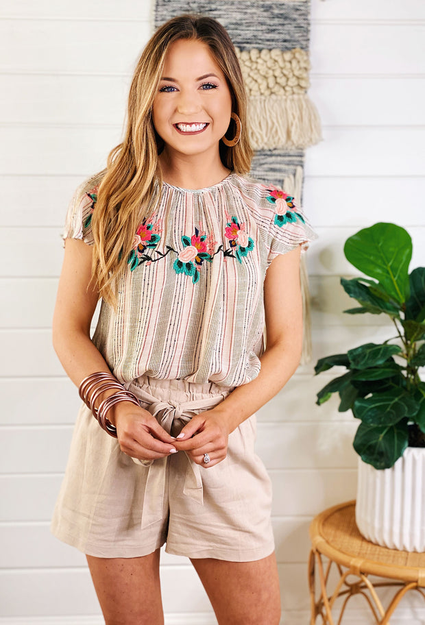 Desert Blossom Embroidered Top, THML striped embroidered top