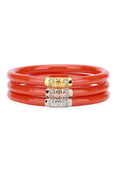 BUDHAGIRL Three Kings All Weather Bangles in Coral, 3 piece orange/red bangle with gold, rose gold, and silver beads
