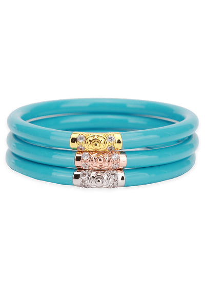 BUDHAGIRL Three Kings All Weather Bangles in Turquoise, 3 piece turquoise bangle with gold, rose gold, and silver beads