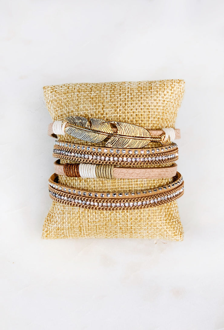 Tan Faux Leather Wrap Bracelet, tan leather 4 strand bracelet with crystals and twine on a metal clasp