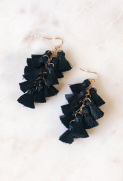 Tassel Talk Earrings in Black, statement earrings with many small black tassels on hook backing