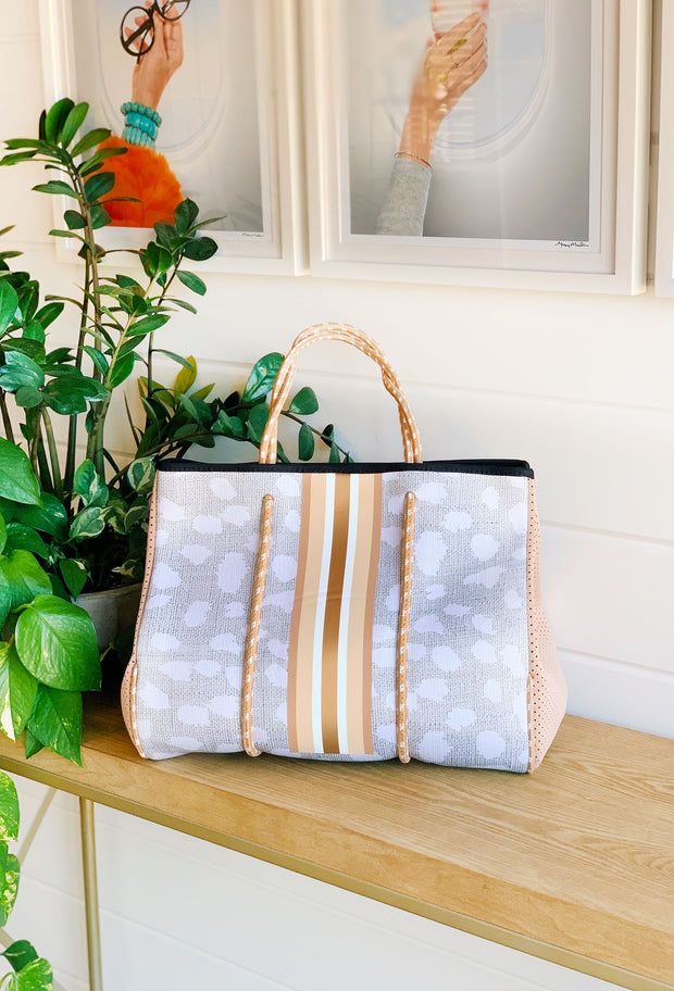 The Jeanne Neoprene Tote, soft antelope print tote with cream and white detailing