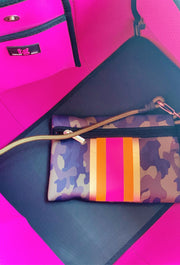 The Hope Neoprene Tote, green camp neoprene tote bag with hot pink and orange stripe detailing down the front