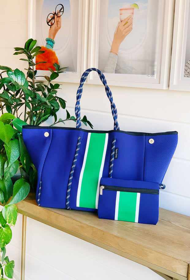 The Jeanne Neoprene Tote, soft antelope print tote with cream and white detailing , cobalt blue neoprene tote with green and white stripe detailing